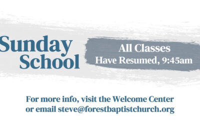 All Sunday School classes have resumed!